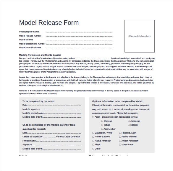 Model Release Form - 8+ Samples , Examples & Format
