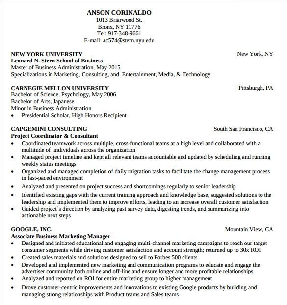 Consultant Professional Resume Template  Consulting Resume Template