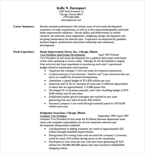 consultant resume template download