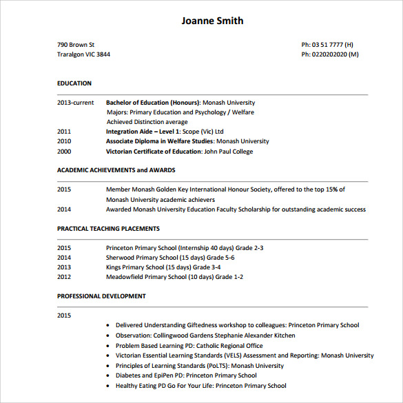 sample tutor resume template