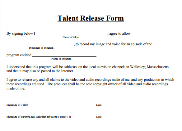 Talent Release Form   Free Samples Examples  Formats
