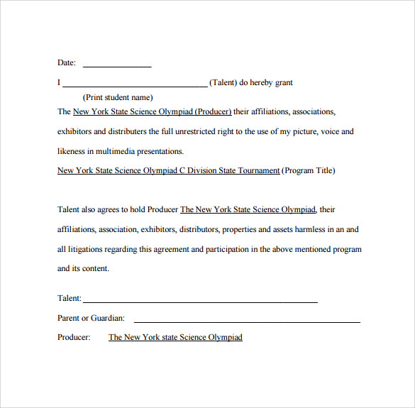 Talent Release Form 8 Free Samples Examples Formats – Sample Actor Release Form