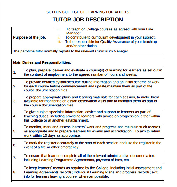 Free 7 Sample Tutor Resume Templates In Pdf Word