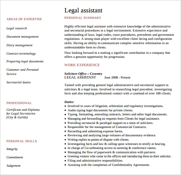 sample legal resume free pdf