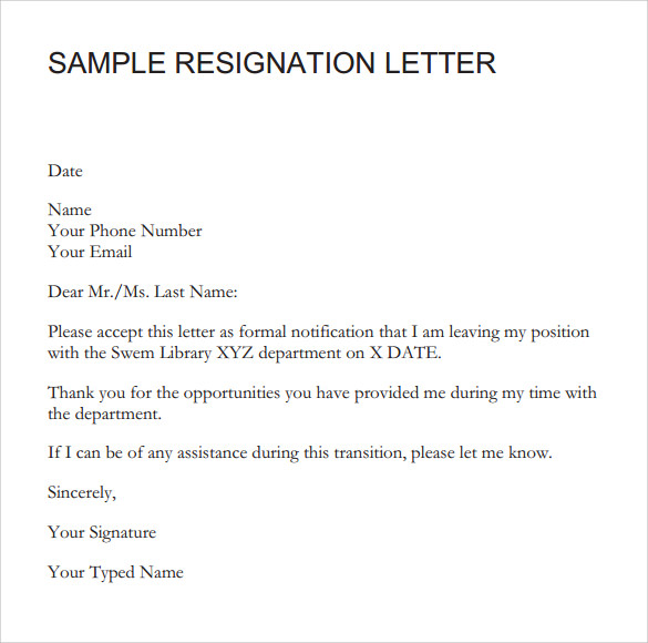 Resignation Letter - 8+ Samples , Examples & Format
