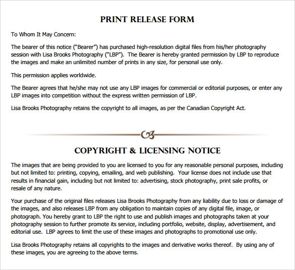 Print release form 8 free samples examples formats for Free photography print release form template