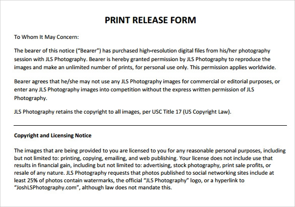 9 print release forms samples examples formats for Photographer copyright release form template