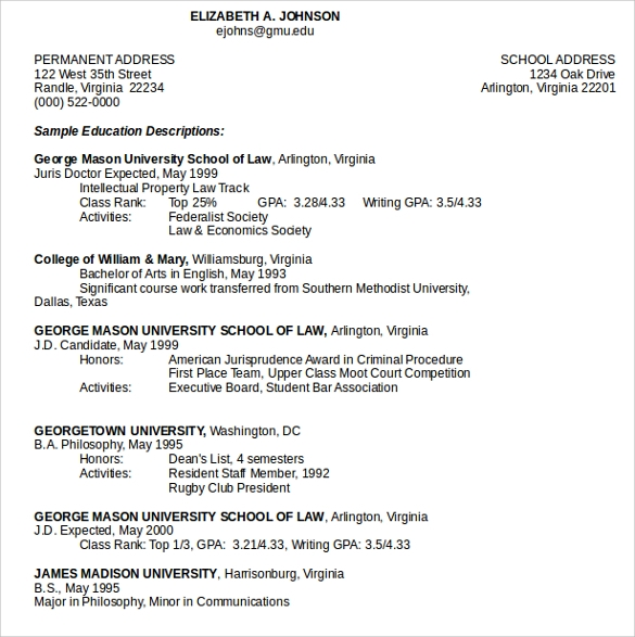 sample legal resume doc