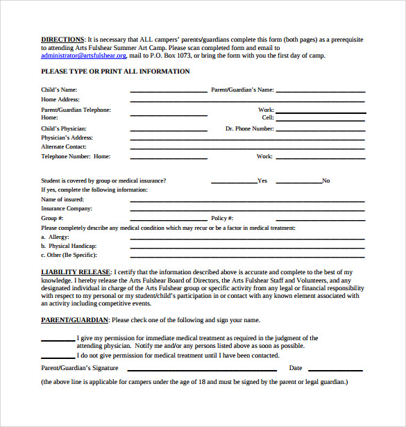 medical liability release form