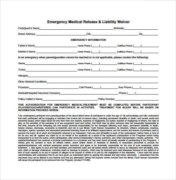 emergency medical release liability waiver form