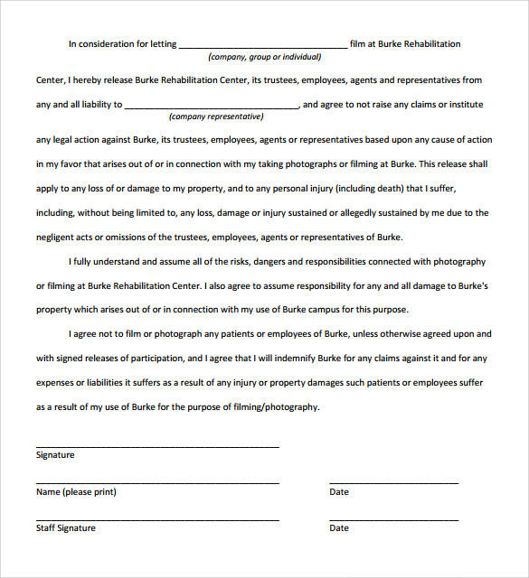 Liability Release Form   Samples  Examples  Formats