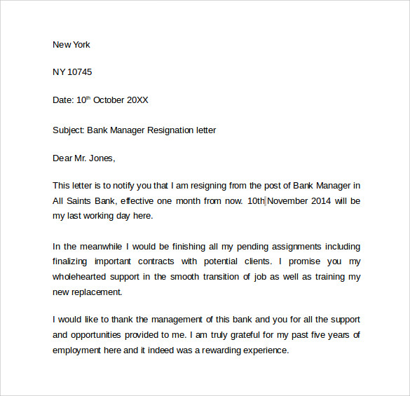 9 resignation letters samples examples formats sample templates bank manager resignation letter altavistaventures Gallery