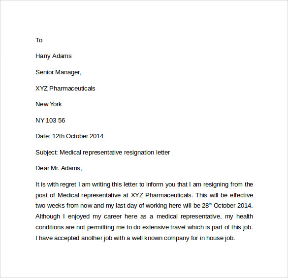 medical representative resignation letter1