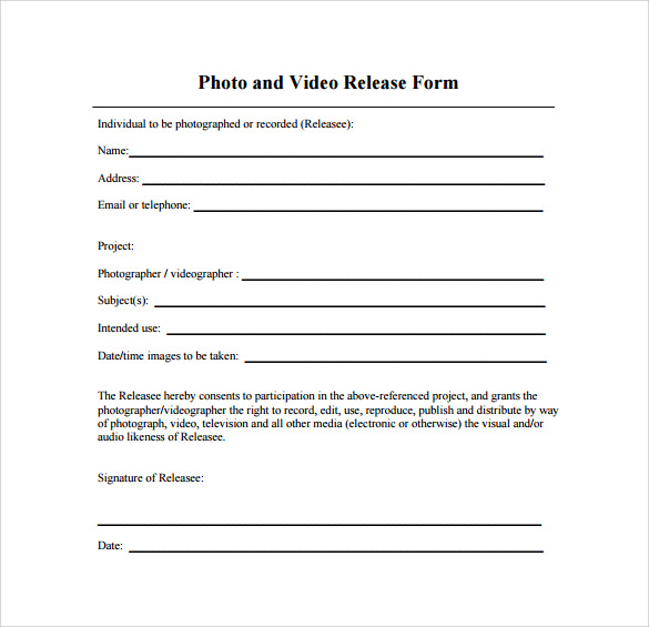 Video Release Form - 8+ Samples , Examples & Format