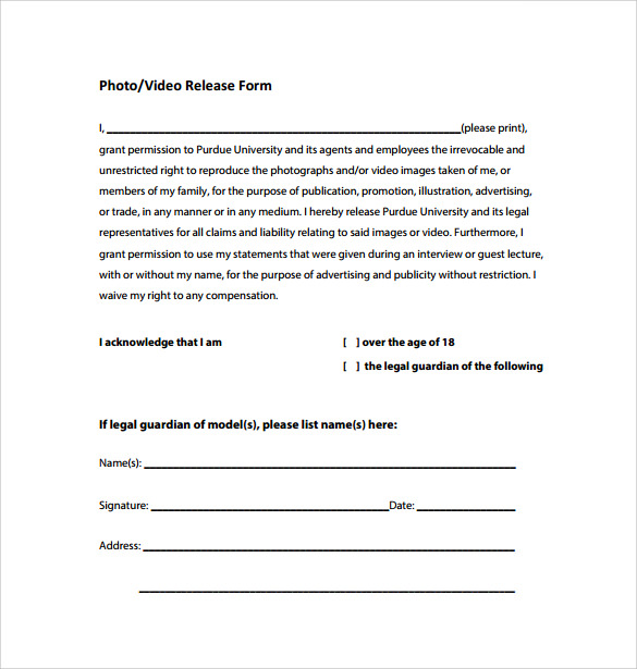 sample photo or video release form