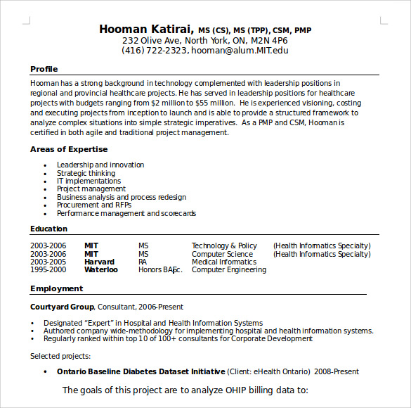 sample manager resume template