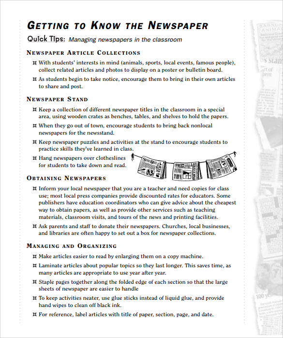 free newspaper template for kids