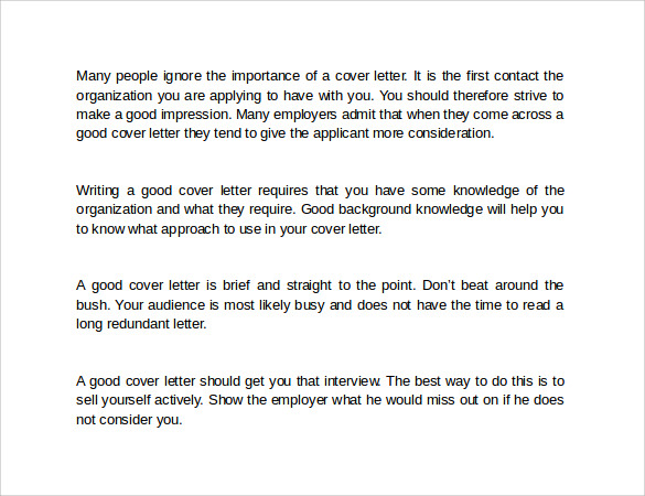 format of a good cover letter