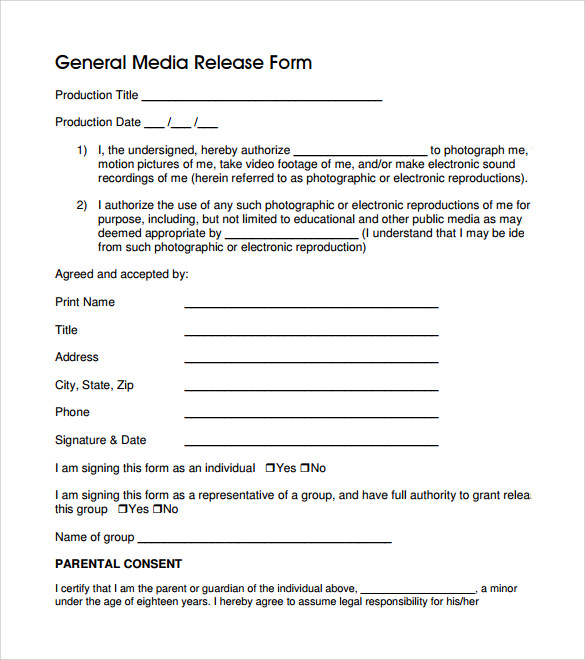 General Release Form 7 Free Samples Examples Formats – General Release Forms