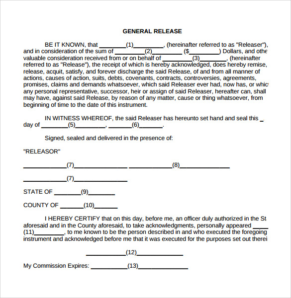 General Release Form