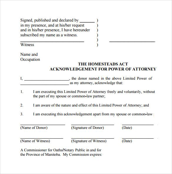 Standard Limited Power Attorney Form