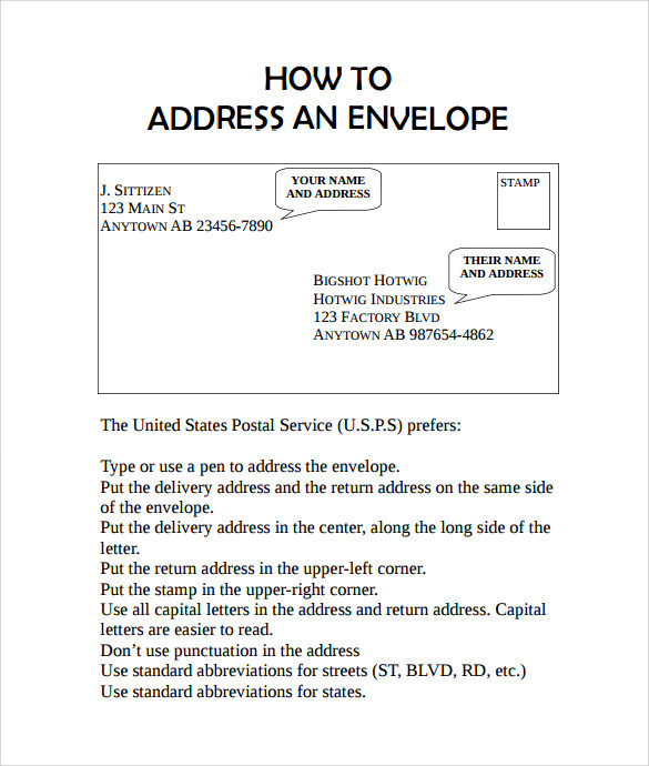 template for writing addresses on envelopes