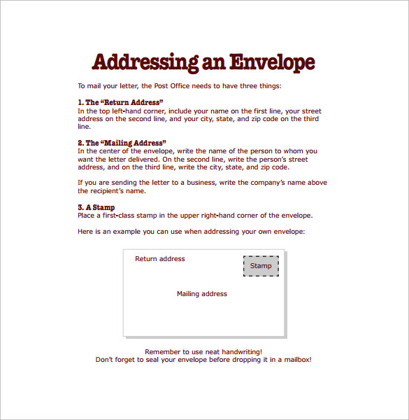 addressing an envelope instructions