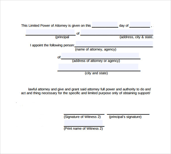 Limited Power Of Attorney Form   Free Samples  Examples  Formats