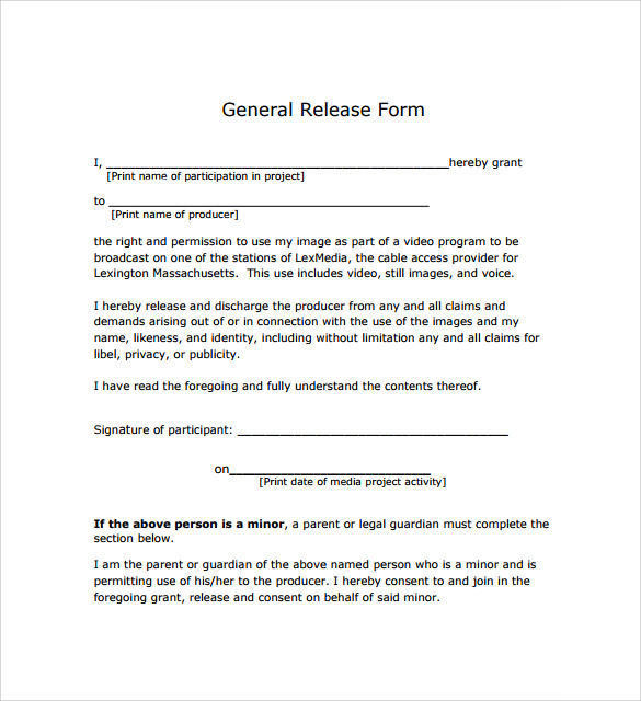 General Release Forms Photography Release Forms Release Agreement