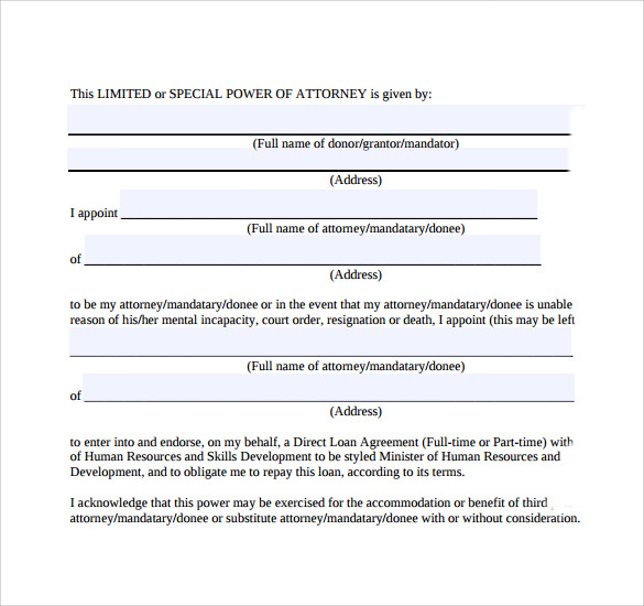 General Limited Power Attorney Form