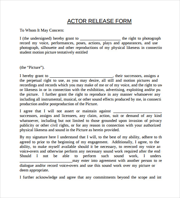Sample Actor Release Form - 7+ Free Documents In Pdf, Word