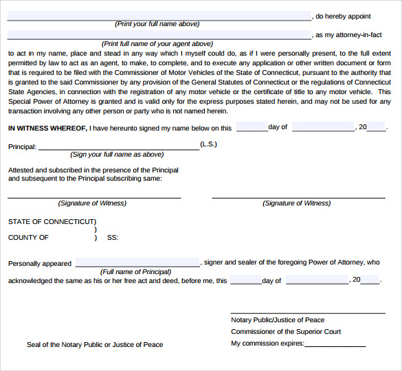 Special Power Of Attorney Form   Free Samples Examples  Formats