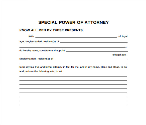 9 special power of attorney forms samples examples for Special power of attorney template free