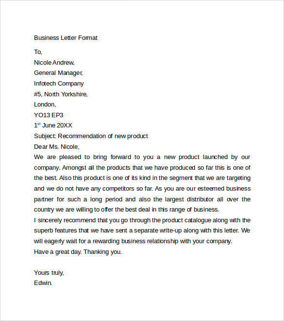 business letter format to download