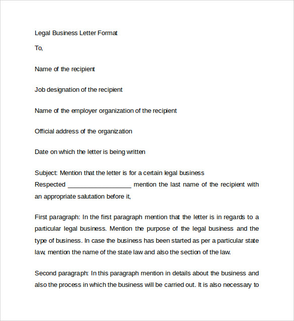 legal letter format 8 business letters samples examples amp formats sample 1754