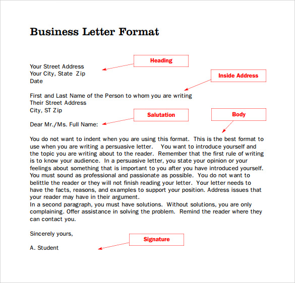 business letter format in pdf