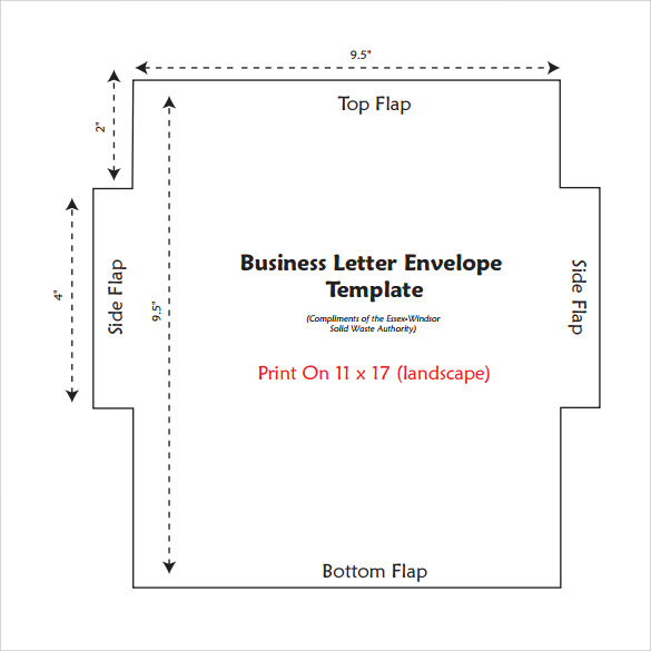sample letter envelope template