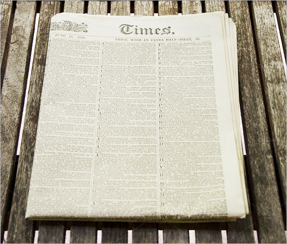 sample old newspaper template