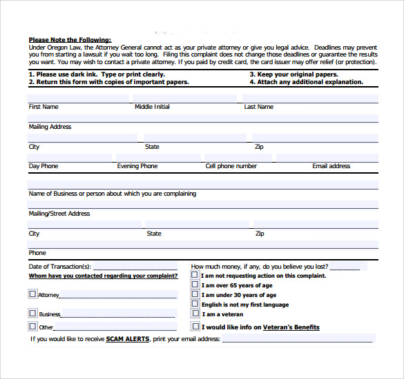 sample consumer complaint form - Sample Consumer Complaint Form
