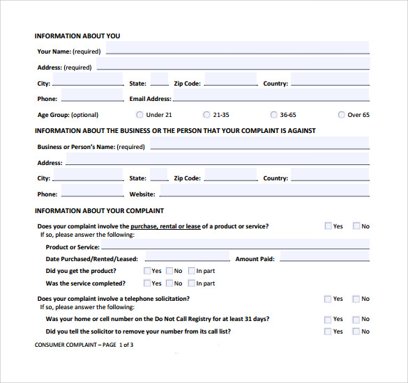 Sample Consumer Complaint Form Sample Example Of Customer