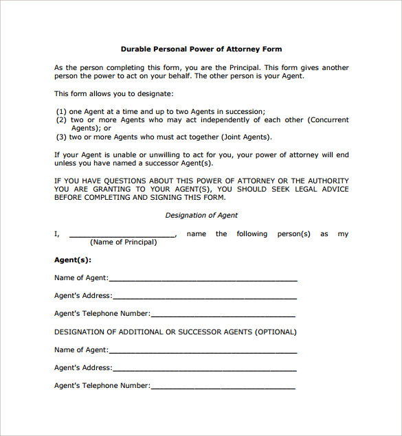 Simple Power Of Attorney Form   Free Samples Examples  Formats