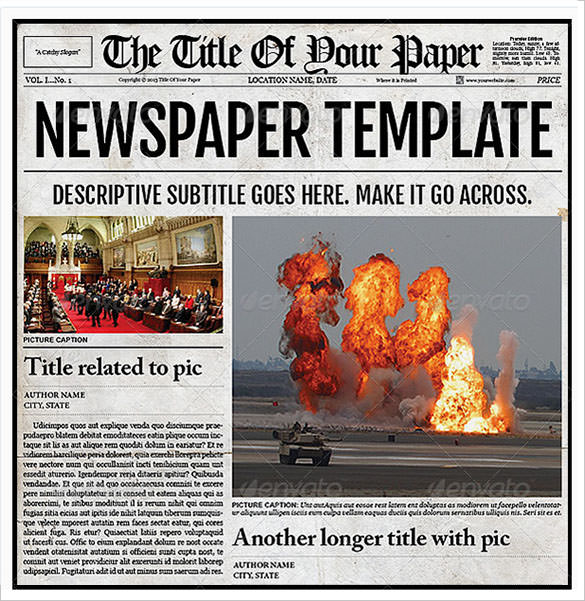 old newspaper template sample