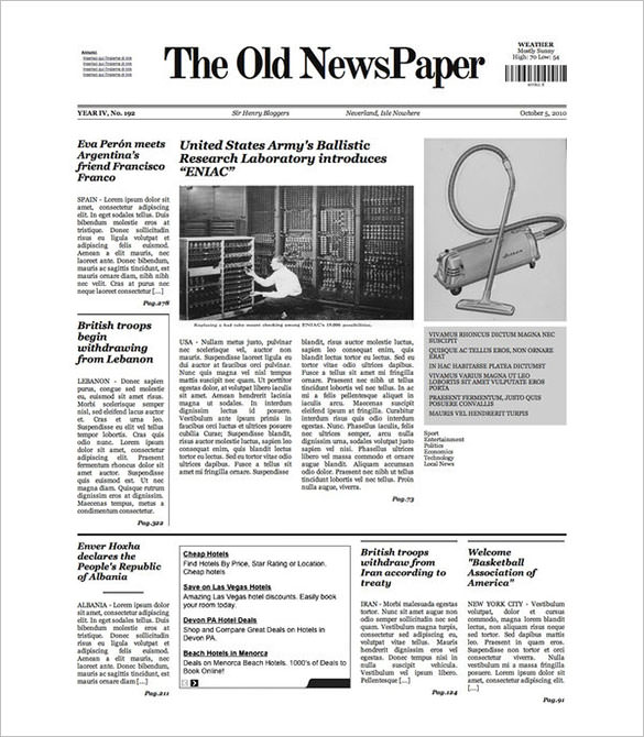 old newspaper template free sample pdf
