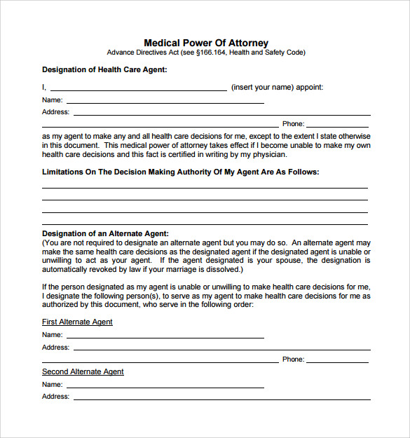 Sample Medical Power Of Attorney Form - 7+ Free Documents In Pdf