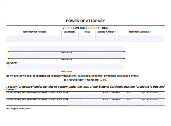 Blank Power of Attorney Form 7 Free Samples Examples Format – Blank Power of Attorney Form
