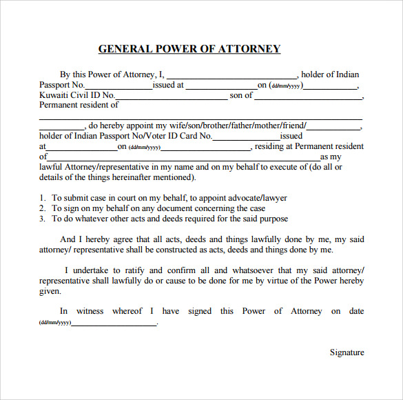 General Power Of Attorney Forms   Free Samples Examples  Formats