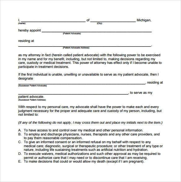 sample durable power of attorney form