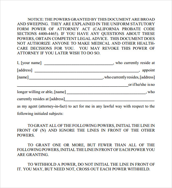 Durable Power of Attorney Forms 7 Free Samples Examples Formats – Sample Durable Power of Attorney Form