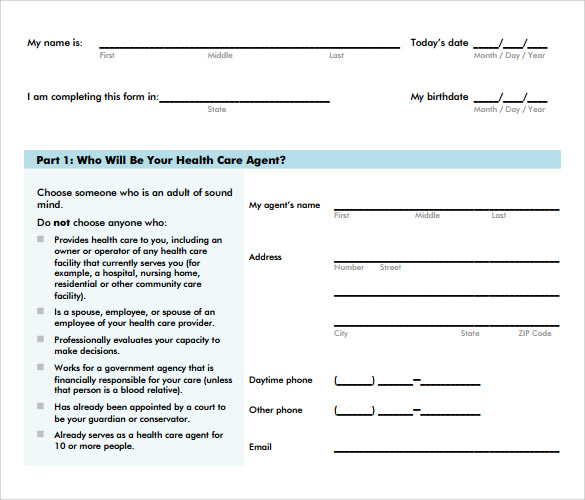 Health Care Power Of Attorney Form  Free Samples Examples