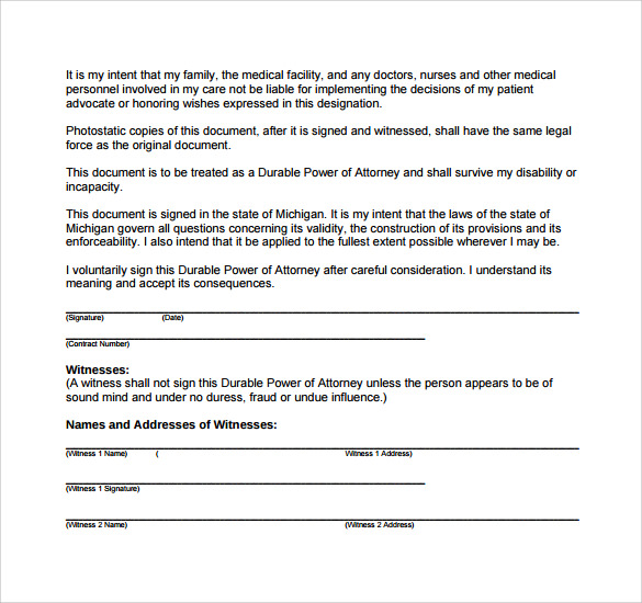 durable power of attorney for health care form